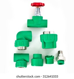 Set of PPR green pipes fitting connectors with red valve