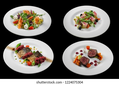 Set of prepared food on dishes on a black background