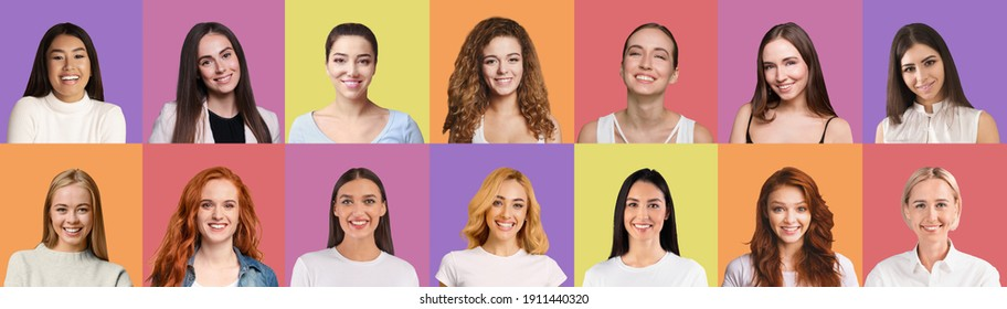 Set of pretty young multiracial women closeup portraits over bright colorful backgrounds, panorama, collage. Attractive young ladies of different nationalities and looks. Women community concept