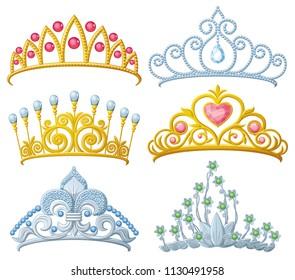 Set of princess crowns Tiara isolated on white. illustration.