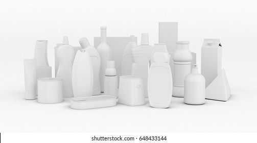 set of product packages on white background (3d render)