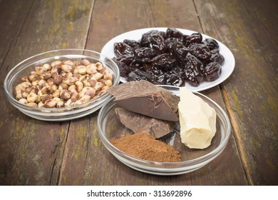 set of products for the manufacture of candy plum in chocolate