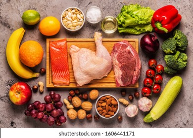 A set of products for paleo, pegan and a whole 30 diets, top view.
