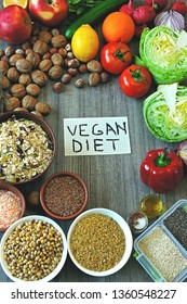 A set of products for a vegan diet. Fruits, vegetables, seeds, cereals, nuts. A note with an inscription vegan diet. Flat Lay.