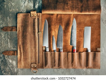 Set of professional cook tools. Special case of cook knives. View from above