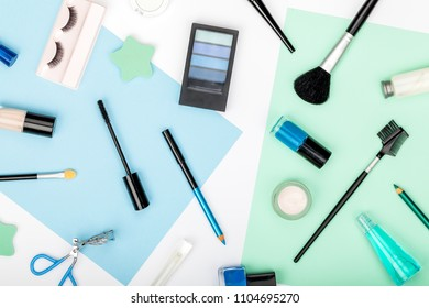 set of professional decorative cosmetics, makeup tools and accessory on white background. beauty, fashion, party and shopping concept. trendy flat lay composition, top view