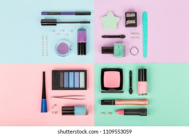 set of professional decorative cosmetics, makeup tools and accessory on multicolored background. beauty, fashion, party and shopping concept. flat lay composition, top view