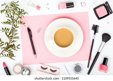 set of professional decorative cosmetics, makeup tools and accessory on white background. beauty, fashion, party and shopping concept. stylish flat lay composition, top view