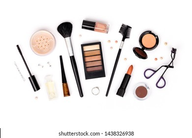 set of professional decorative cosmetics, makeup tools and accessory isolated on white background. beauty, fashion, party and shopping concept. flat lay composition, top view