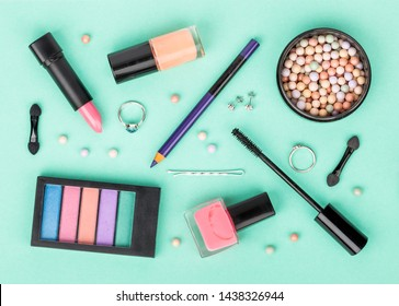 set of professional decorative cosmetics, makeup tools and accessory on white background. beauty, fashion, party and shopping concept. flat lay composition, top view