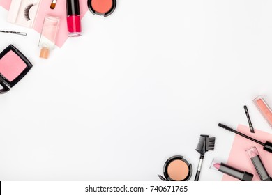 set of professional decorative cosmetics, makeup tools and accessory on white background with copy space for text. beauty, fashion, party and shopping concept. flat lay frame composition, top view
