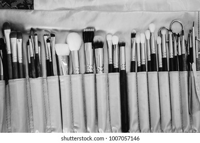 Set of professional make-up brushes in compact case