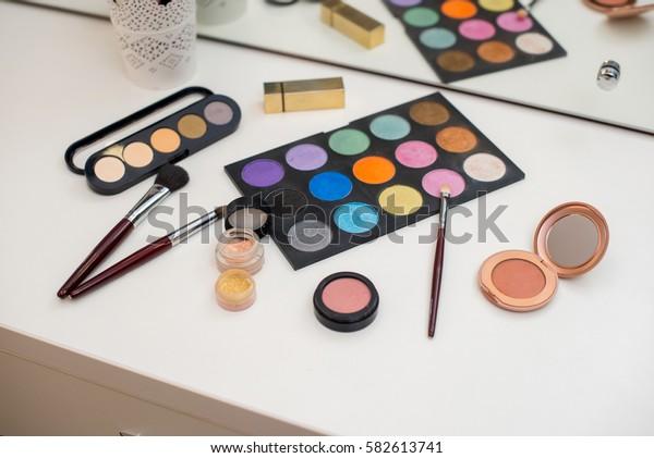 Set of professional make-up cosmetics.