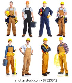 Set of professional workers people. Contractor isolated over white background.