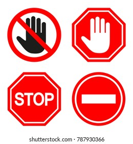 set of prohibiting sign. signs of stop on white background