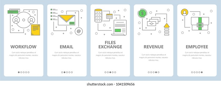 Set of project management concept vertical banners. Workflow, Email, Files exchange, Revenue, Employee web templates. Modern thin line flat symbols, icons for web, print.
