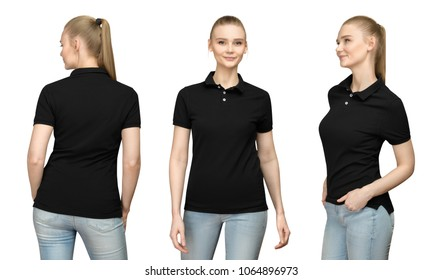 73d0ce816b2 Set promo pose girl in blank black polo shirt mockup design for print and  concept template