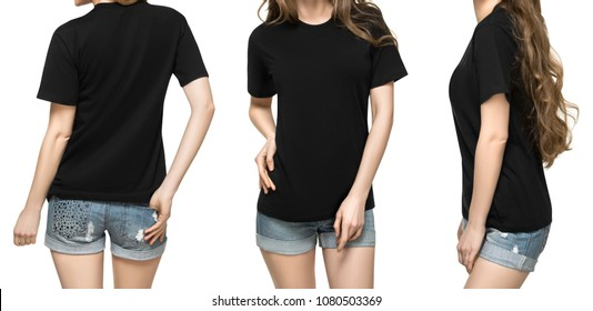 Set promo pose girl in blank black tshirt mockup design for print and concept template young woman in T-shirt front and half turn side back view isolated white background with clipping path.