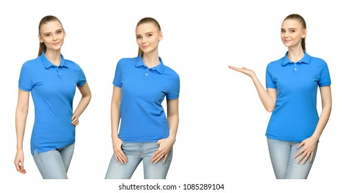 Set promo pose girl in blank blue polo shirt mockup design for print and concept template young woman in T-shirt front and half turn side view isolated white background with clipping path.
