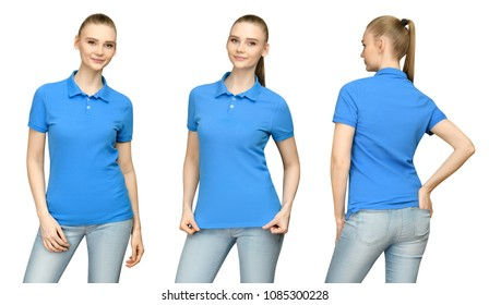 d81edc072f36 Set promo pose girl in blank blue polo shirt mockup design for print and  concept template