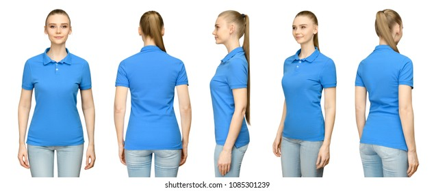Set promo pose girl in blank blue polo shirt mockup design for print and concept template young woman in T-shirt front and side back view isolated white background with clipping path.