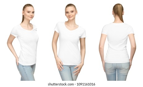 Set promo pose girl in blank white tshirt mockup design for print and concept template young woman in T-shirt front and side back view isolated white background with clipping path.