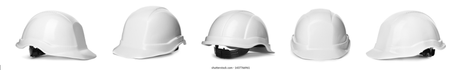 Set of protective hardhats on white background. Banner design
