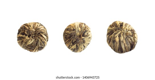 Set of pu-erh tea granules compressed into tablets. Tea leaves isolated on white background