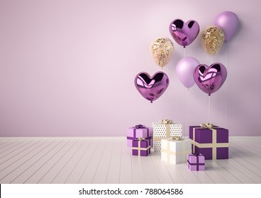Set of purple, violet and golden glossy 3d realistic balloons in heart shape. Valentine's Day or wedding day romantic background for party, events, presentation or promotion banner, posters.