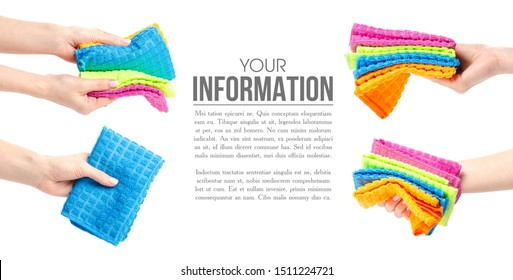 Set rag microfiber in hand on white background isolation, space for text