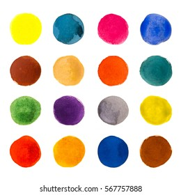 Set of rainbow aquarelle watercolor circle backgrounds for your designs