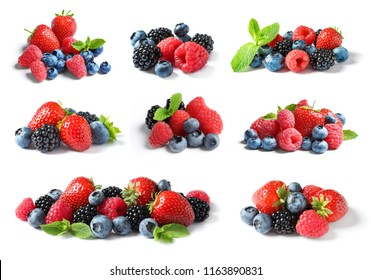 Set with raspberries and other berries on white background
