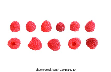 Set of raspberry. Raspberry collection. Fresh ripe berries isolated on white background.
