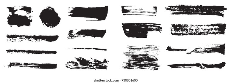 Set of Raster Black Pen Ink Brush Strokes. Grunge Ink Brush Stroke. Dirty Brush Stroke.