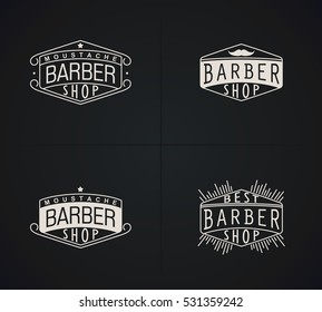 Set of raster emblems Barber Shop in vintage style. Modern linear minimalism.  Design for Logos, Stamp, Badges, Signboard, t-shirts and others.