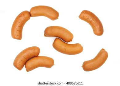 Set of raw sausage isolated on white background