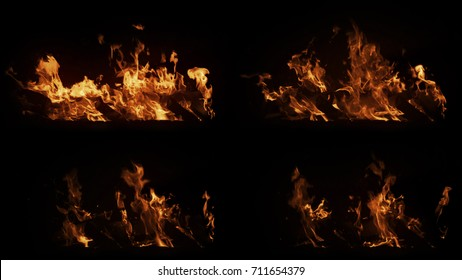 A set of real big shot fire in with particles on black background, horizontal burning beams, high speed flame isolated, perfect for film, digital composition.
