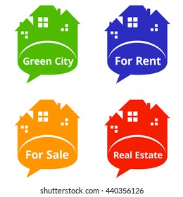 Set of Real Estate speech bubbles, concept illustration, icons or logos concept