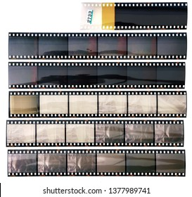 set of real long 35mm positive strips on white background, contact sheet with empty frames or film cells