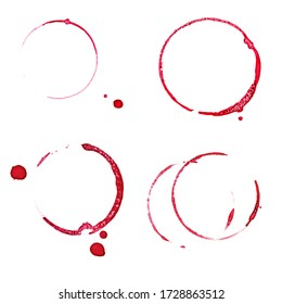 Set of Real red wine stain isolated on white. - Shutterstock ID 1728863512