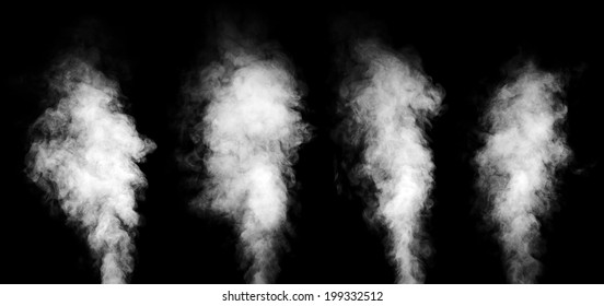 Set of real white steam isolated on black background with visible droplets.
