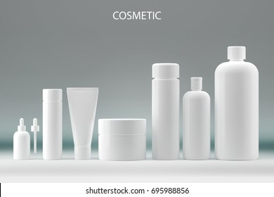 Set of Realistic bottle for essential oil and tube or container Cosmetic package collection for, ointment, toothpaste, lotion.shampoo, oil, gel, White Mock up set. 3D render