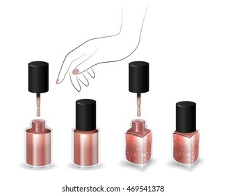 Set of realistic bottles of nail polish in the background a woman's hand. Round and square bottle with nail polish. Nail polish with shining spangles. 3D illustration