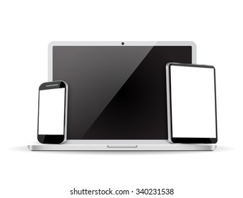 Set of realistic laptop, tablet and mobile phone with empty screen.   Raster version.
