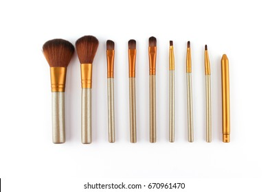 Set of realistic make up brushes isolated on white background