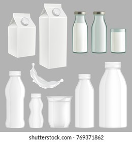 Set of realistic milk packaging templates. White creative milk paper, glass and plastic packaging design.