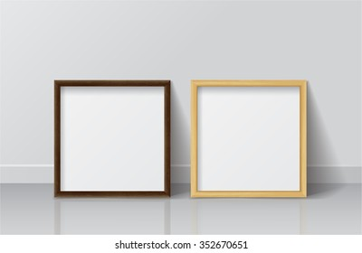 Set of Realistic Wood Blank Picture Square frame. Design Template for Mock Up.