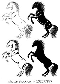Set of rearing horse illustrations in different techniques. There is also vector original in my portfolio.