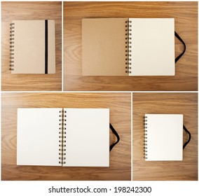 Set of Recycled paper notebook with black elastic band on wooden background