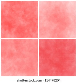 Set of red abstract art water colour hand paint background